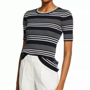 Frame Ribbed Knit Top Navy Multi